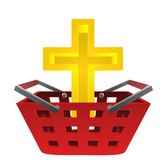 catholic golden cross in red basket vector