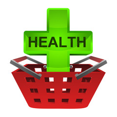 green health cross in red basket vector