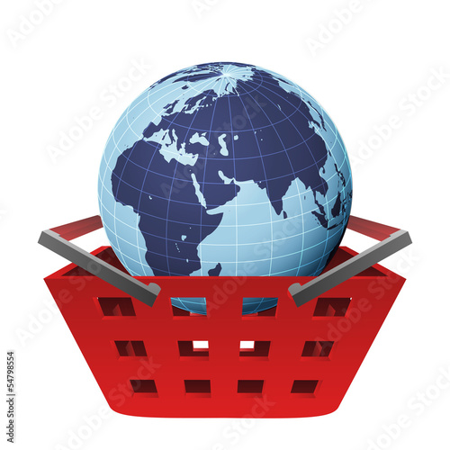 earth globe with africa in red basket vector