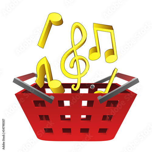 music sounds in red basket vector