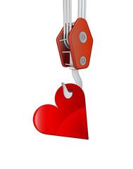 crane hook lifting red love heart vector