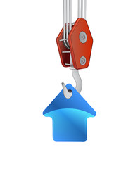 crane hook lifting blue house icon vector