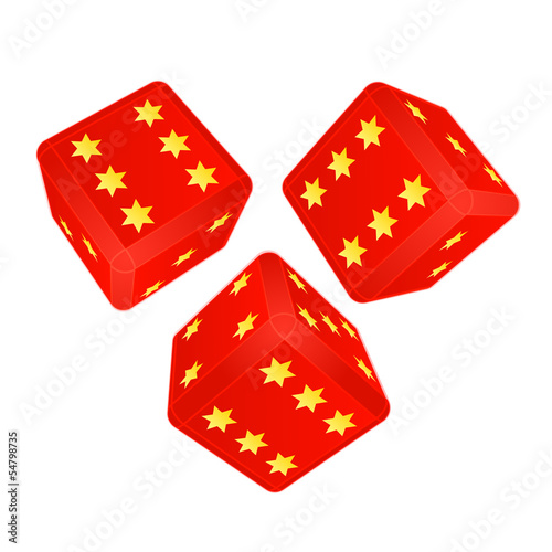 three dimensional dices with lucky stars vector