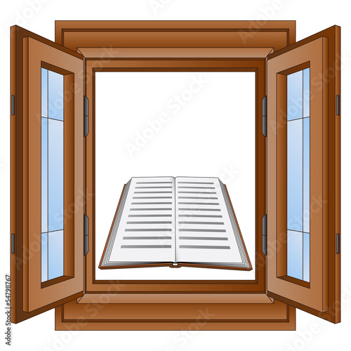 education book in window wooden frame vector