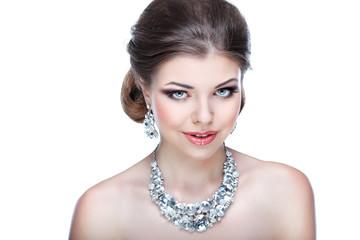 Portrait of elegant girl is in fashion style. Wedding decoration
