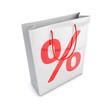 Tragetasche mit Prozent-Zeichen - 3D Illustration