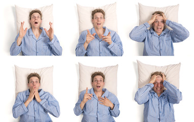 Set of man in pajamas on his pillow showing different expression