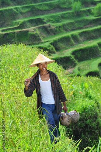 Portrait of traditional organic rice farmer. Shoot on Bali