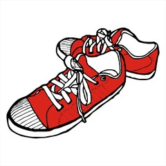 Red Sneakers sketch vector