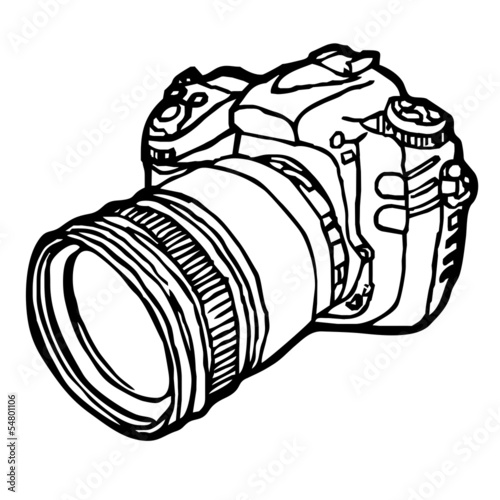DSLR camera sketch vector