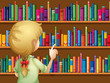 A girl selecting books