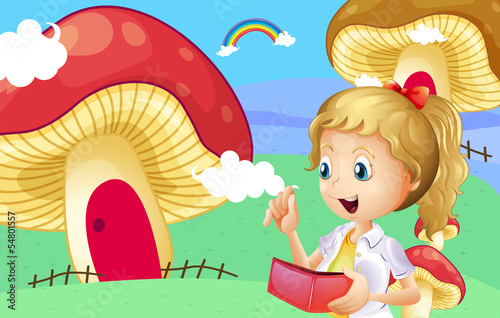 A girl holding a wallet near the giant mushroom houses
