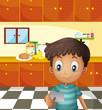 A boy reading a recipe