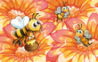 Bees collecting honey