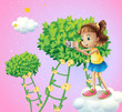 A girl taking pictures near the ladder plants