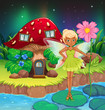A fairy holding a flower near the red mushroom house