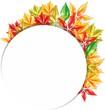 Круглый баннер с осенними листьями