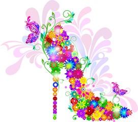Яркие цветочные туфли