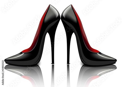 Лаковые черные туфли, векторный рисунок