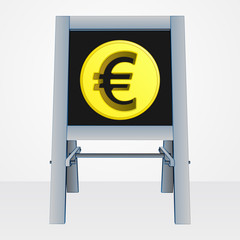 euro coin on easel board vector
