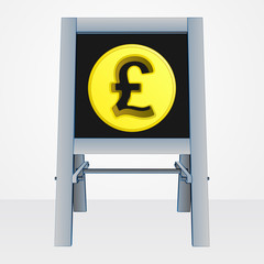 british pound coin on easel board vector