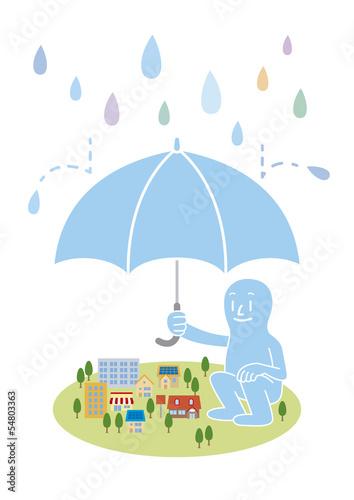 大雨から町を守ろうとする巨人