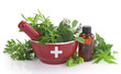 Mortar with medicine cross, fresh herbs and essential oil bottle - 54803975