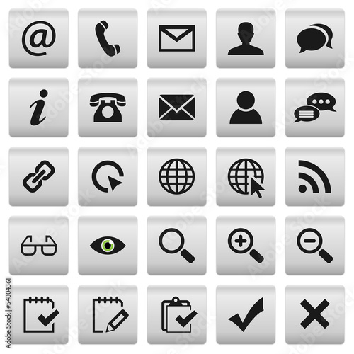 Set 2: Grey Silver Web Buttons Icons