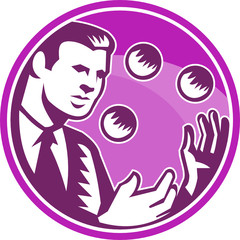 Businessman Juggler Juggling Balls Retro