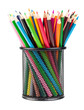 Color pencils in black office cup