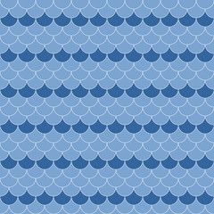 Blue and white scallop navy seamless pattern, vector