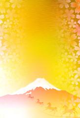 午 富士山 桜 年賀状