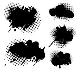 Grunge splatters and dots set