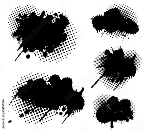Aluminium Vormen Grunge splatters and dots set