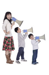 Family with megaphone on white background