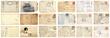 canvas print picture - Old postcards set