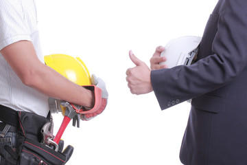 Engineer show hand for give like to worker