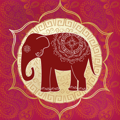 Indian elephant with mandalas