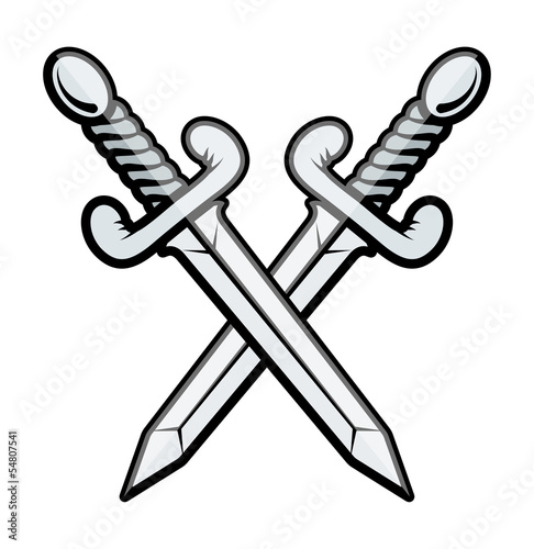 Crossed Sword - Vector Illustration