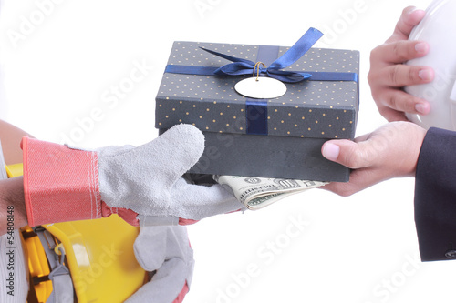 Businessman give gift for corruption something