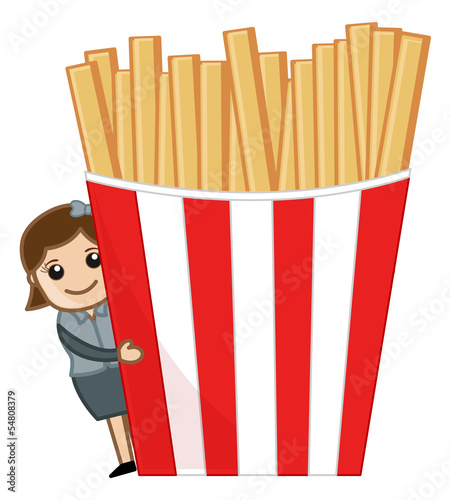 Woman with French Fries - Cartoon Business Vector Character