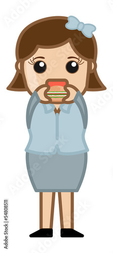 Woman Eating Burger - Cartoon Business Vector Character