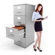 business woman standing near a 3d file cabinet