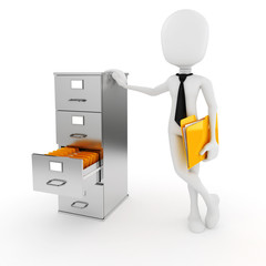3d man business man and file cabinet