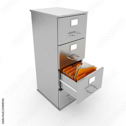 3d file cabinet on white background