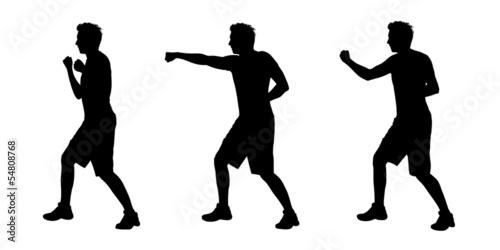 man boxing silhouettes set 1