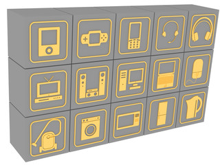 Кубики с символами бытовой электронной техники