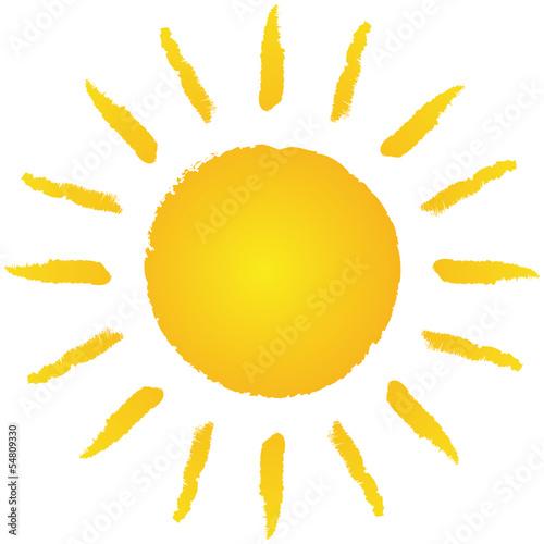 Locker handgezeichnete, strahlende Sonne – Vektor/freigestellt