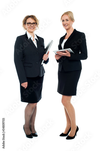 Experienced corporate ladies interacting