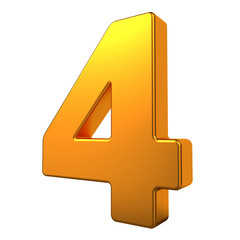 Gold 3D Number.